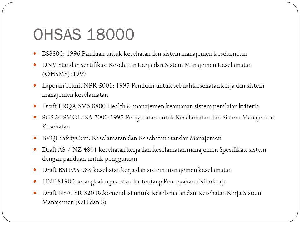 OHSAS 18000 BS8800: 1996 Panduan untuk kesehatan dan sistem manajemen keselamatan.