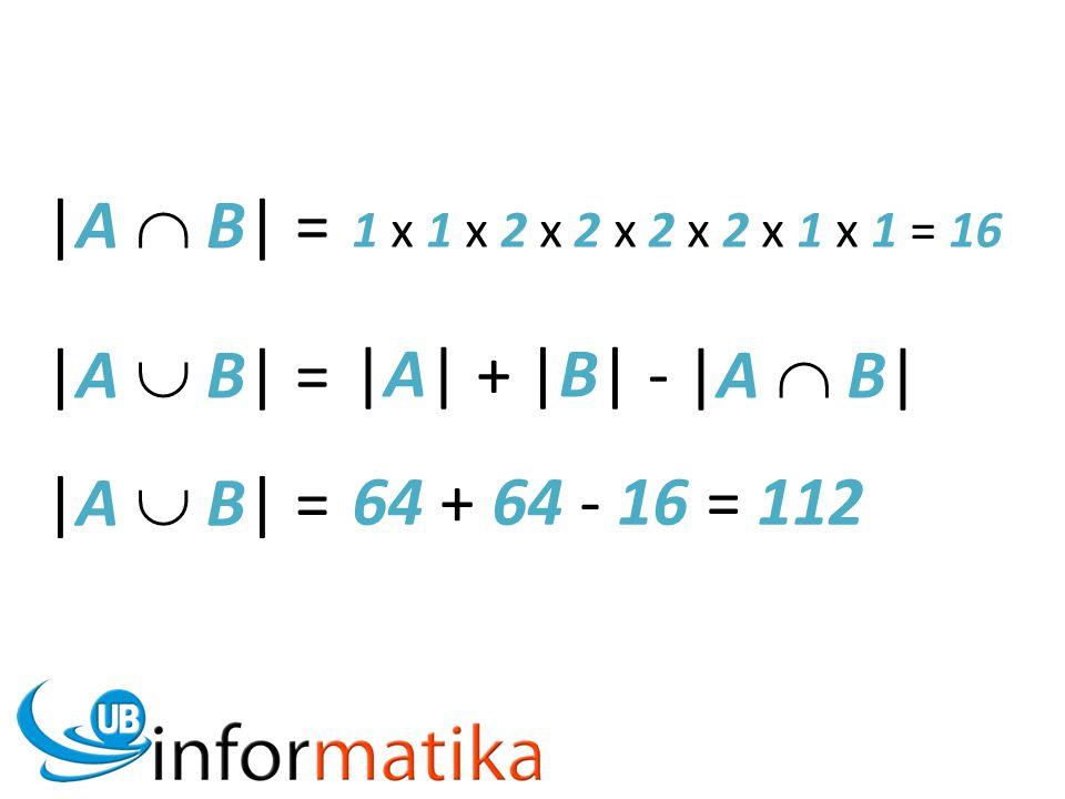 |A  B| = |A  B| = |A| + |B| - |A  B| |A  B| = 64 + 64 - 16 = 112