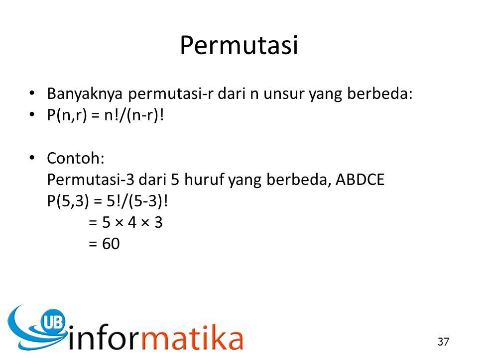 Permutasi Banyaknya permutasi-r dari n unsur yang berbeda: