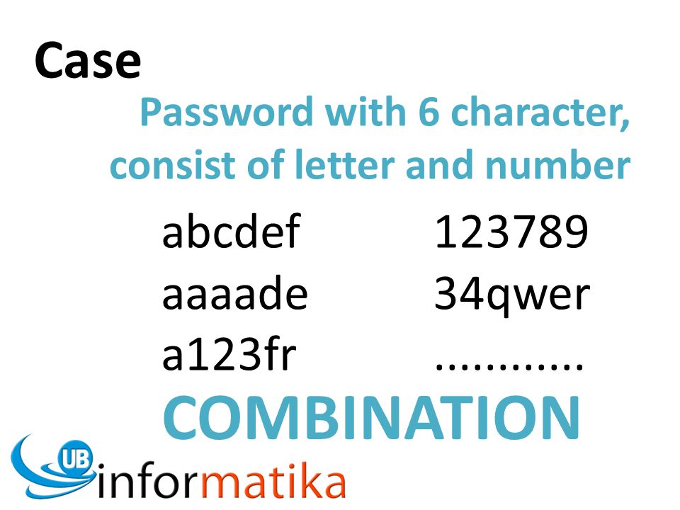 Password with 6 character, consist of letter and number