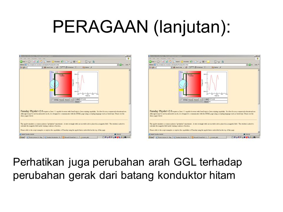 PERAGAAN (lanjutan): Perhatikan juga perubahan arah GGL terhadap perubahan gerak dari batang konduktor hitam.