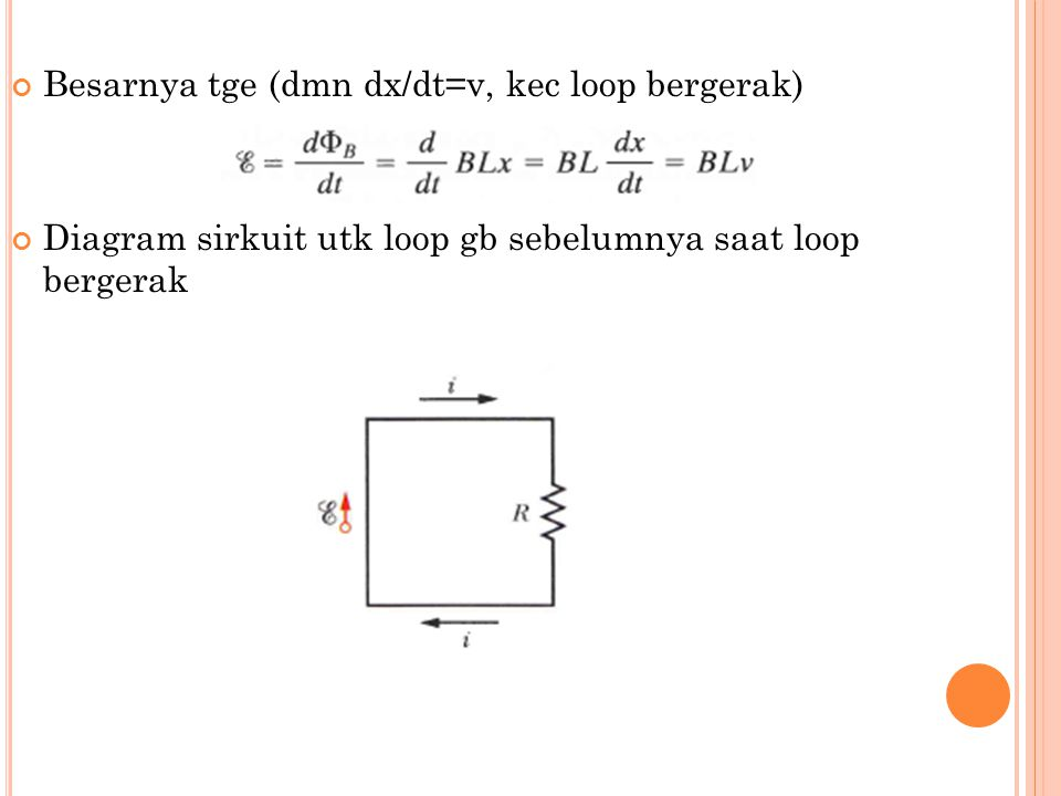 Besarnya tge (dmn dx/dt=v, kec loop bergerak)