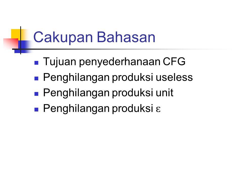 Cakupan Bahasan Tujuan penyederhanaan CFG
