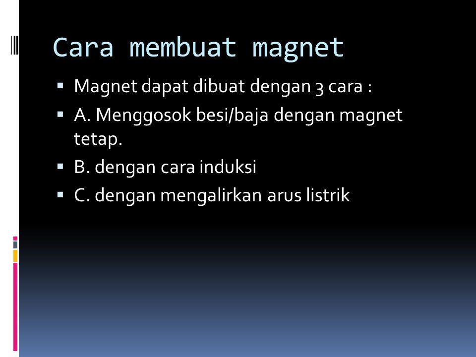 Cara membuat magnet Magnet dapat dibuat dengan 3 cara :