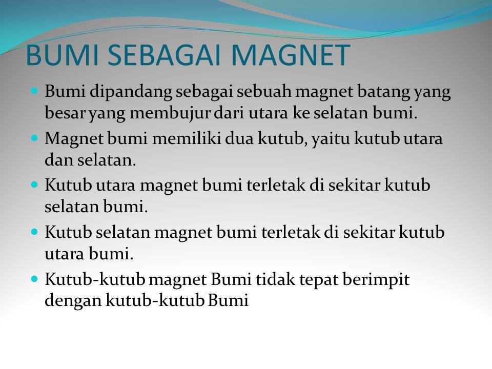 BUMI SEBAGAI MAGNET Bumi dipandang sebagai sebuah magnet batang yang besar yang membujur dari utara ke selatan bumi.