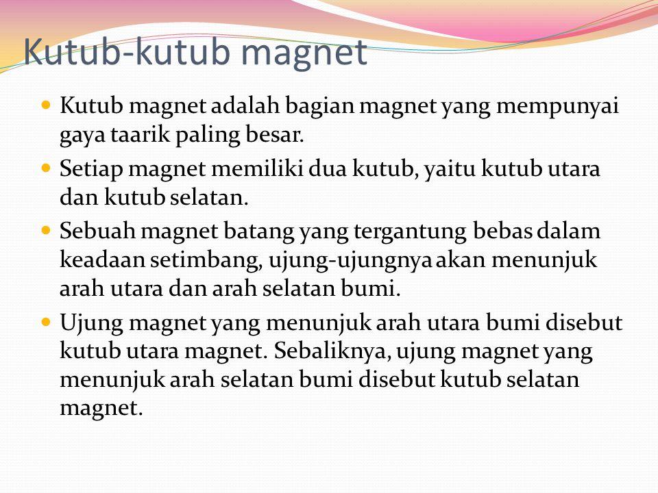 Kutub-kutub magnet Kutub magnet adalah bagian magnet yang mempunyai gaya taarik paling besar.