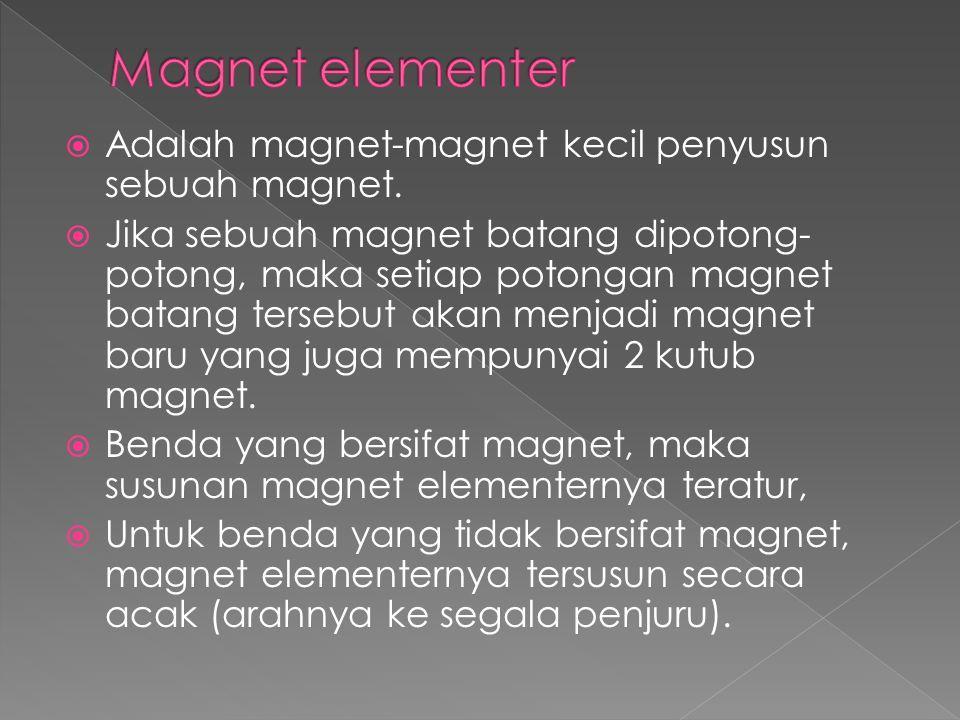 Magnet elementer Adalah magnet-magnet kecil penyusun sebuah magnet.