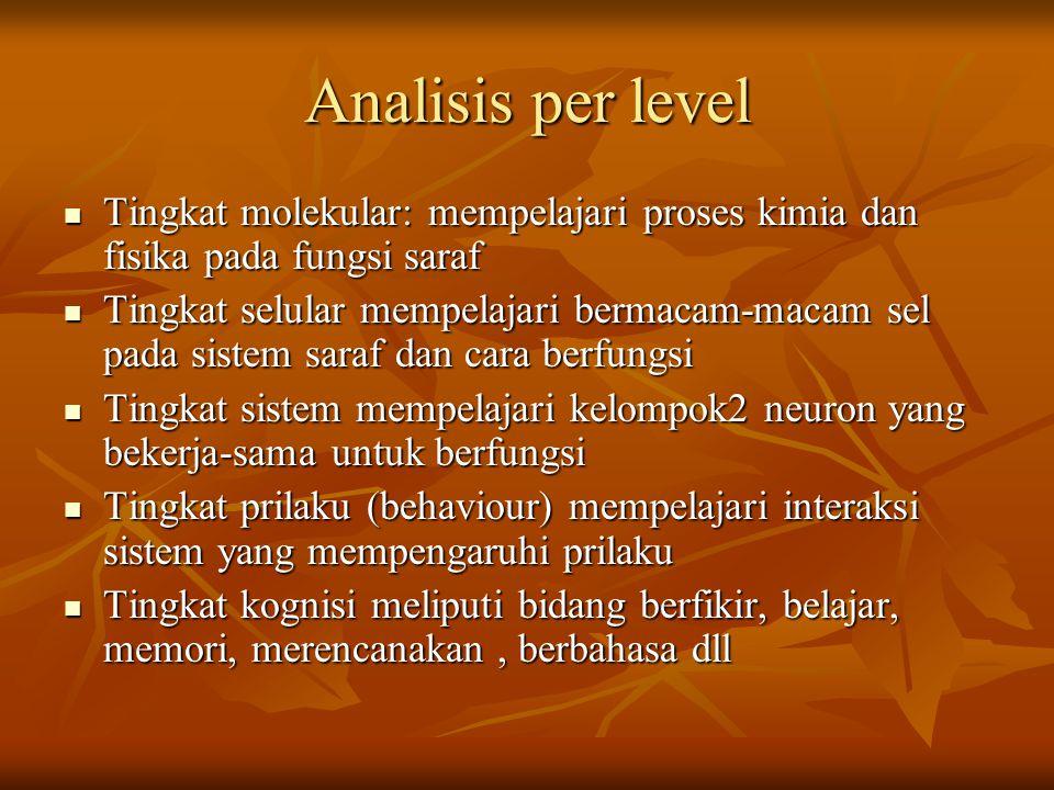 Analisis per level Tingkat molekular: mempelajari proses kimia dan fisika pada fungsi saraf.