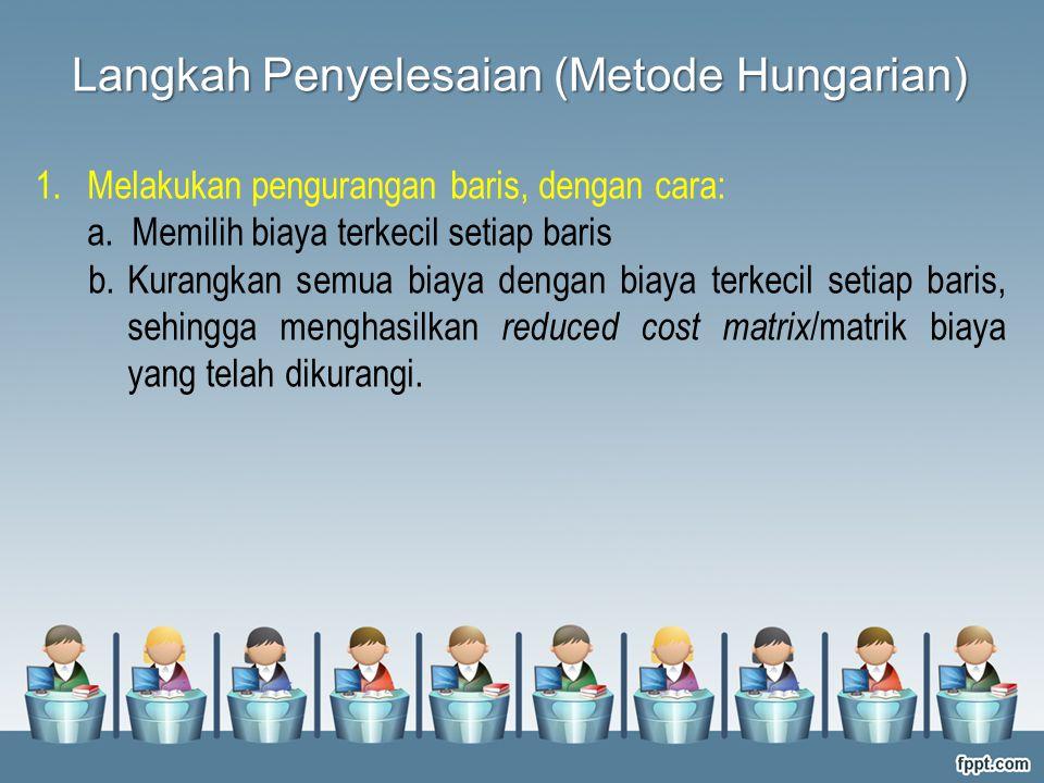 Langkah Penyelesaian (Metode Hungarian)