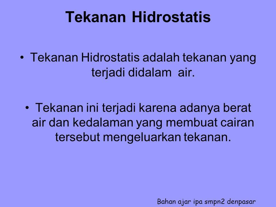 Tekanan Hidrostatis adalah tekanan yang terjadi didalam air.