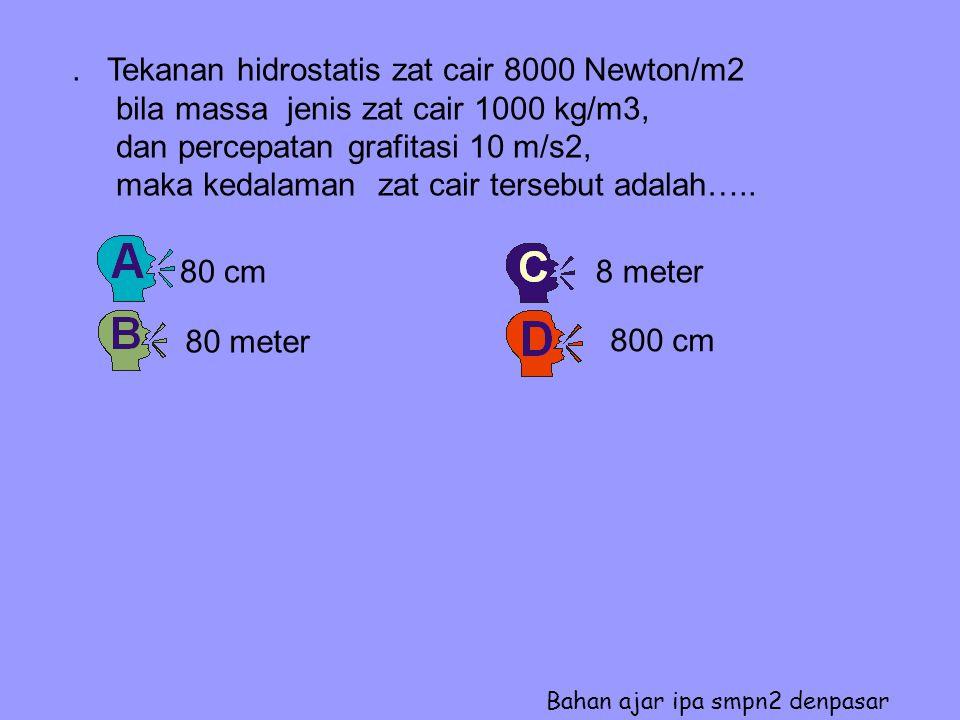 . Tekanan hidrostatis zat cair 8000 Newton/m2