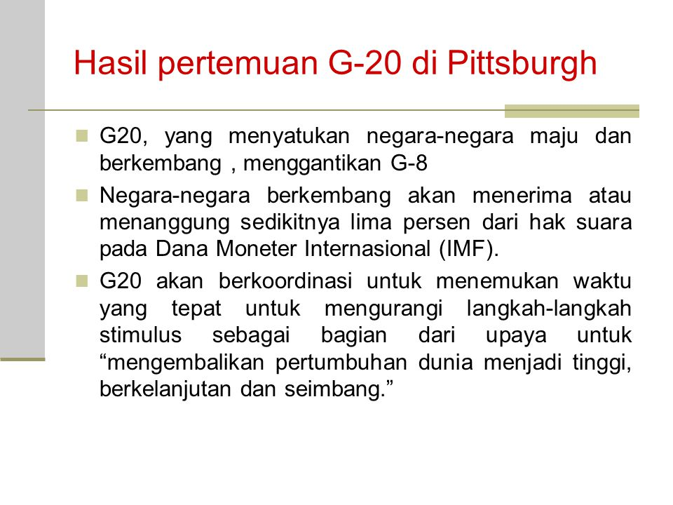 Hasil pertemuan G-20 di Pittsburgh