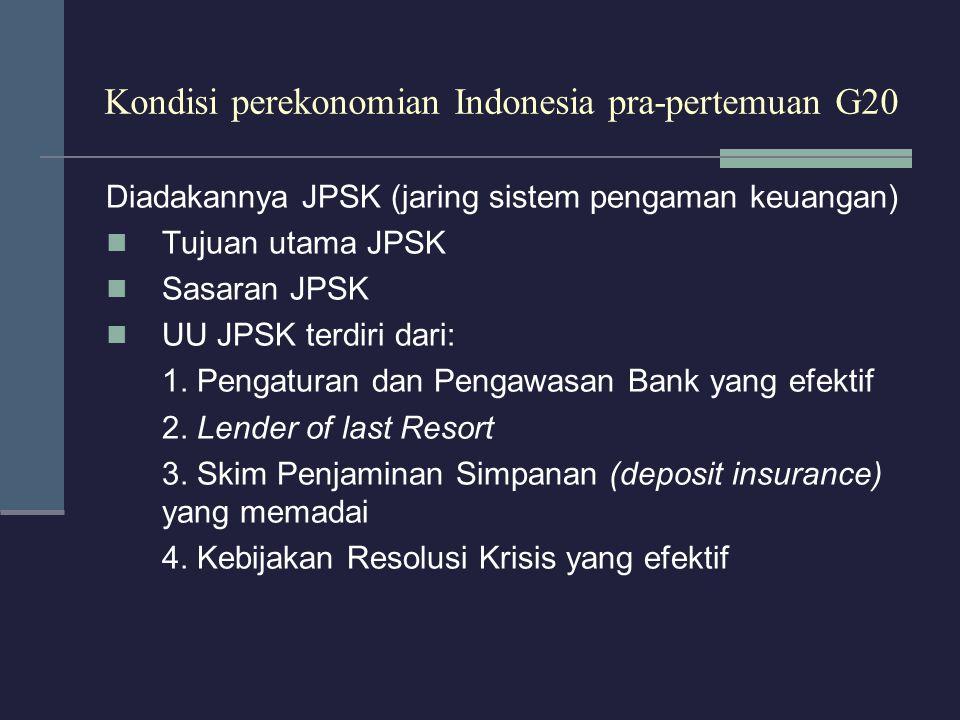 Kondisi perekonomian Indonesia pra-pertemuan G20