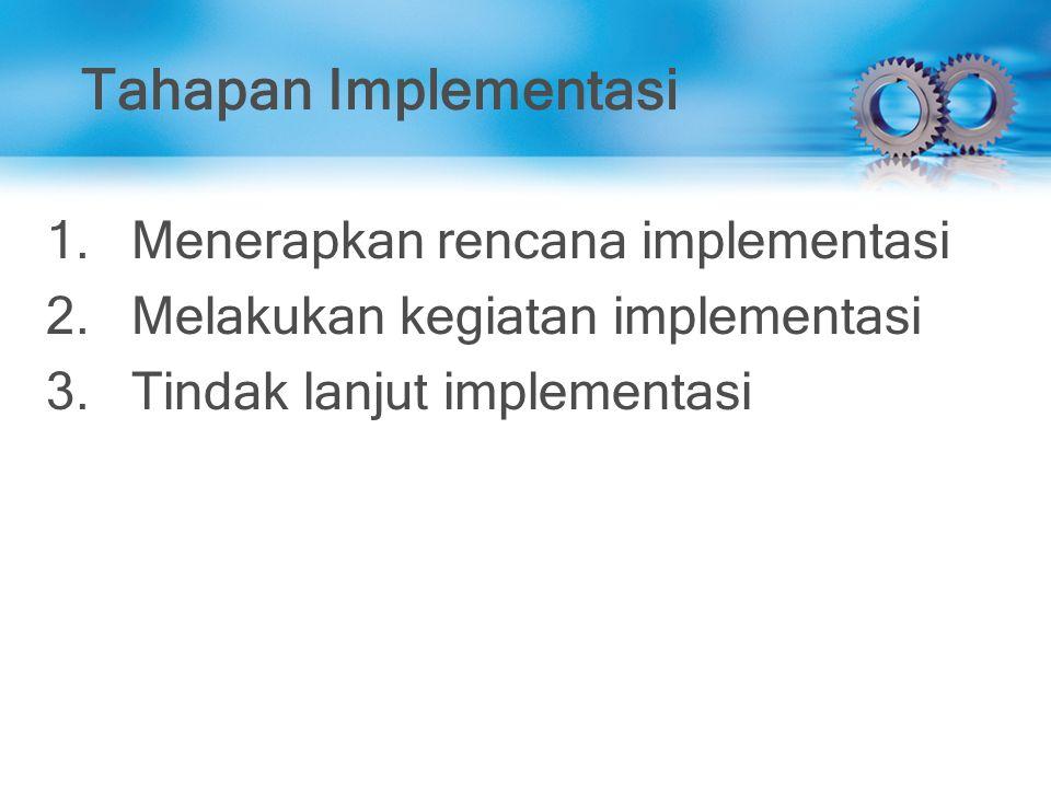 Tahapan Implementasi Menerapkan rencana implementasi