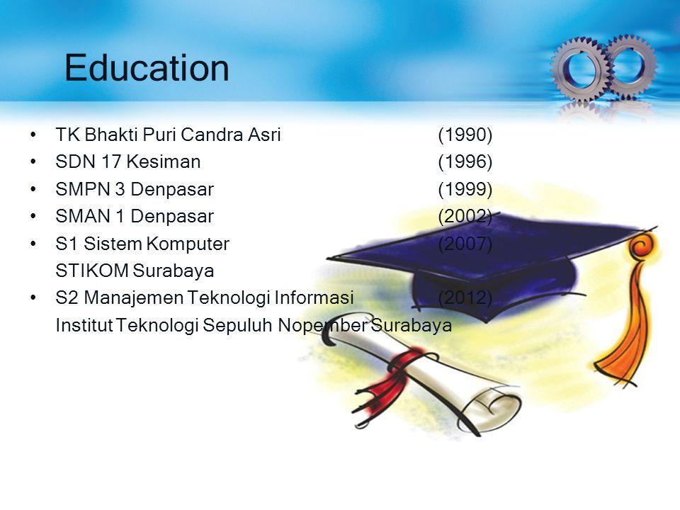 Education TK Bhakti Puri Candra Asri (1990) SDN 17 Kesiman (1996)