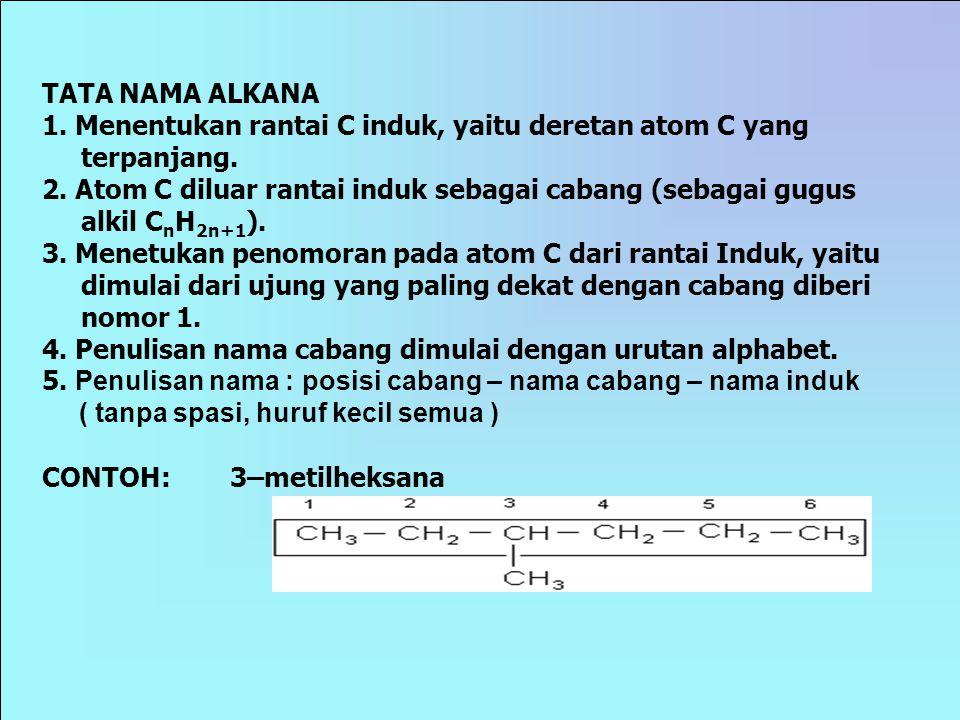 TATA NAMA ALKANA 1. Menentukan rantai C induk, yaitu deretan atom C yang terpanjang.
