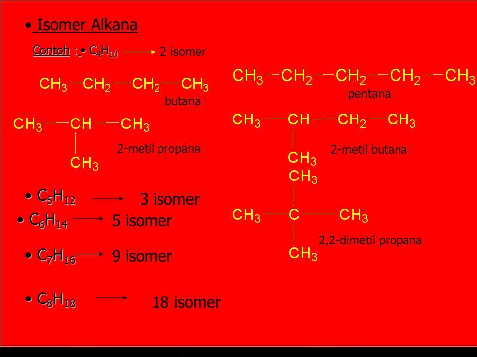 Isomer Alkana C5H12 3 isomer C6H14 5 isomer C7H16 9 isomer C8H18