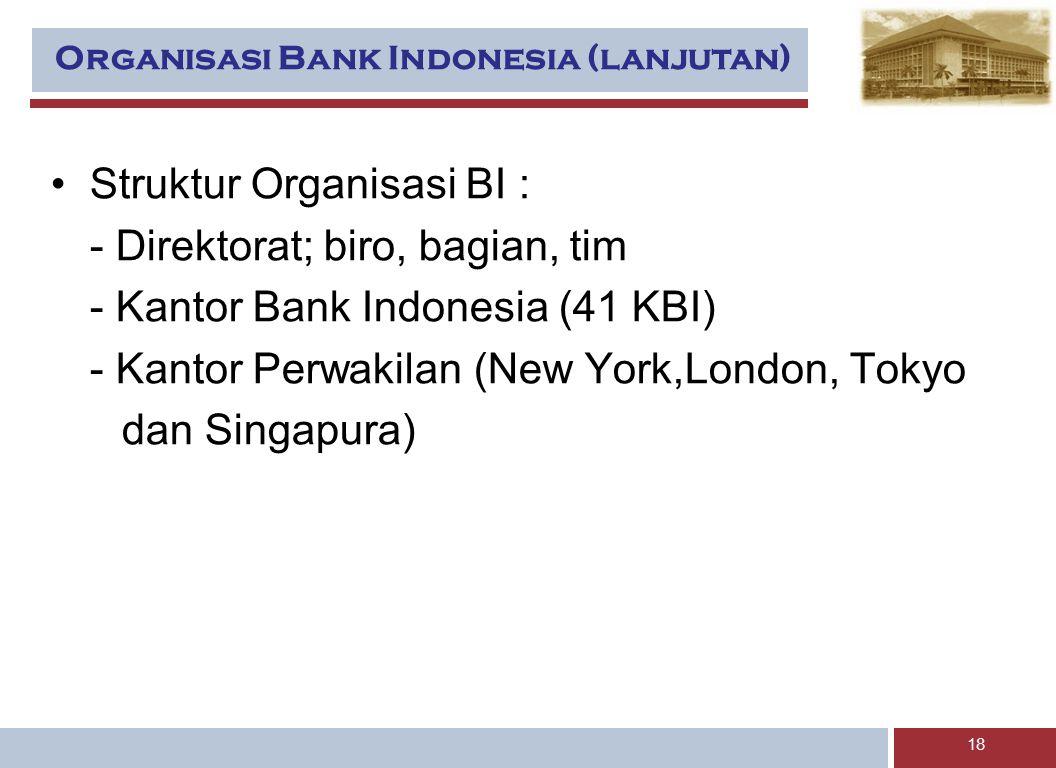 Organisasi Bank Indonesia (lanjutan)