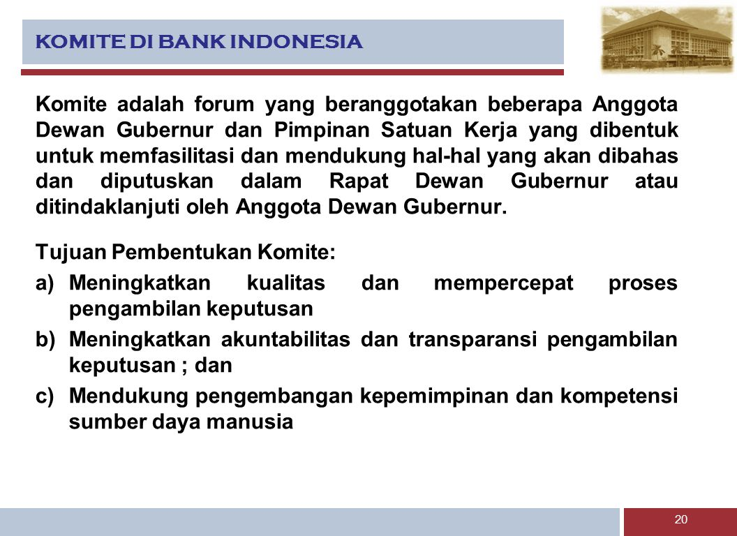 KOMITE DI BANK INDONESIA