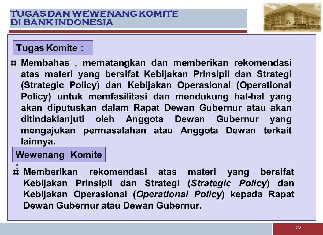 TUGAS DAN WEWENANG KOMITE DI BANK INDONESIA