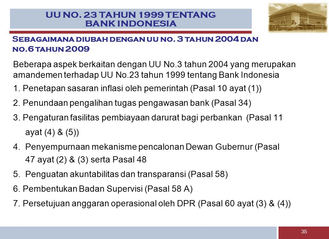 UU NO. 23 TAHUN 1999 TENTANG BANK INDONESIA