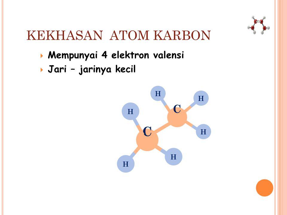 KEKHASAN ATOM KARBON C C Mempunyai 4 elektron valensi