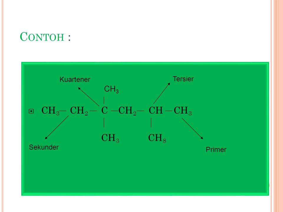 Contoh : CH3 CH2 C CH2 CH CH3 CH3 CH8 CH3 Kuartener Tersier Sekunder