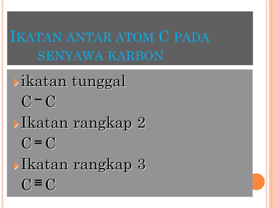 Ikatan antar atom C pada senyawa karbon