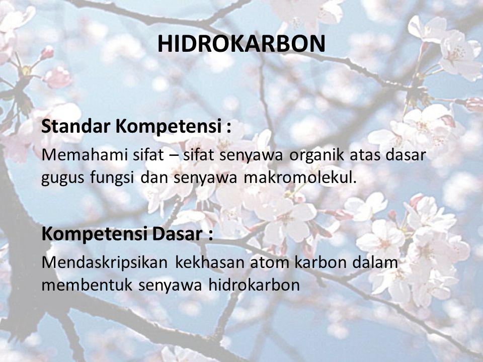 HIDROKARBON Standar Kompetensi : Kompetensi Dasar :