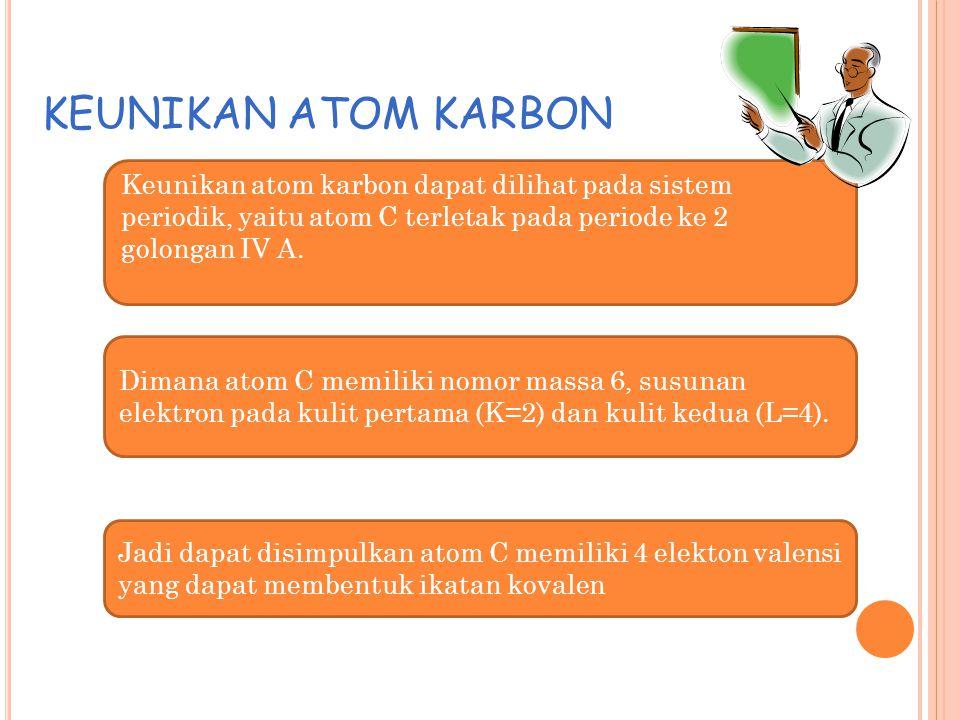 KEUNIKAN ATOM KARBON Keunikan atom karbon dapat dilihat pada sistem periodik, yaitu atom C terletak pada periode ke 2 golongan IV A.