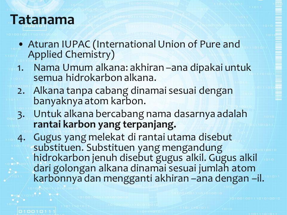 Tatanama Aturan IUPAC (International Union of Pure and Applied Chemistry) Nama Umum alkana: akhiran –ana dipakai untuk semua hidrokarbon alkana.