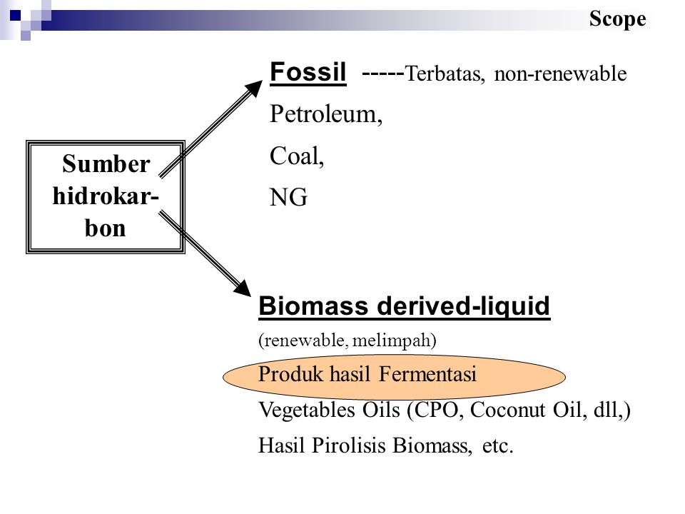 Fossil -----Terbatas, non-renewable Petroleum, Coal, NG