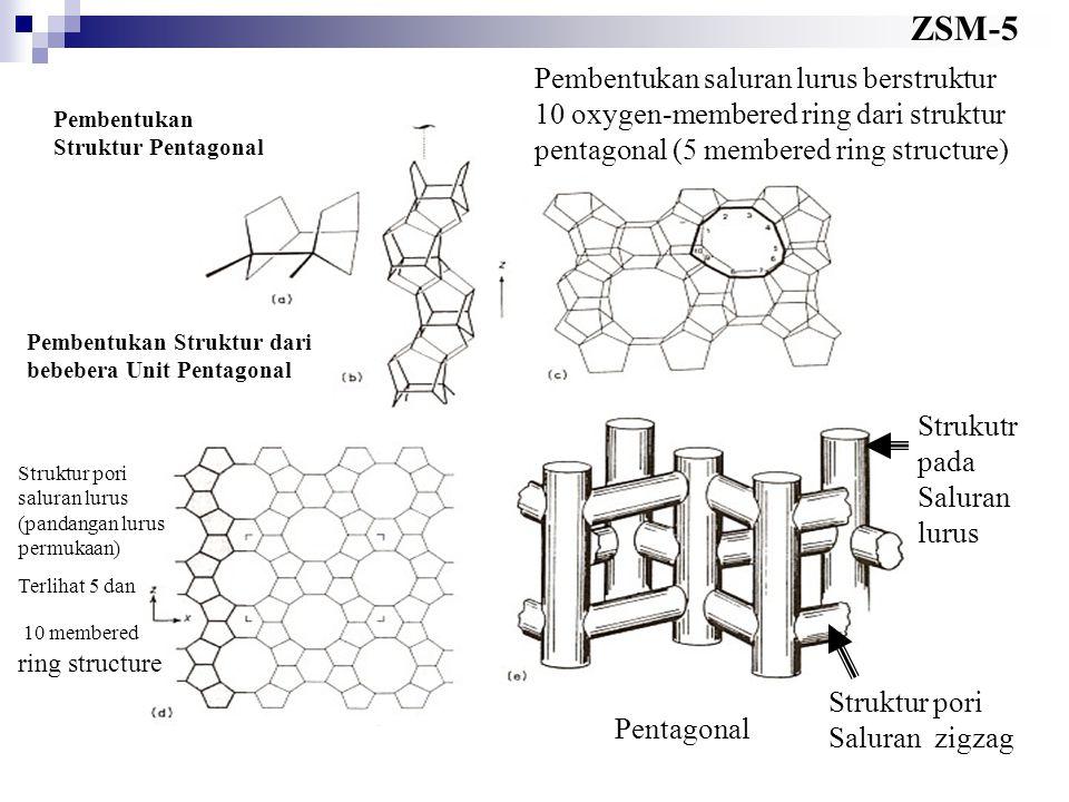 ZSM-5 Pembentukan saluran lurus berstruktur 10 oxygen-membered ring dari struktur pentagonal (5 membered ring structure)
