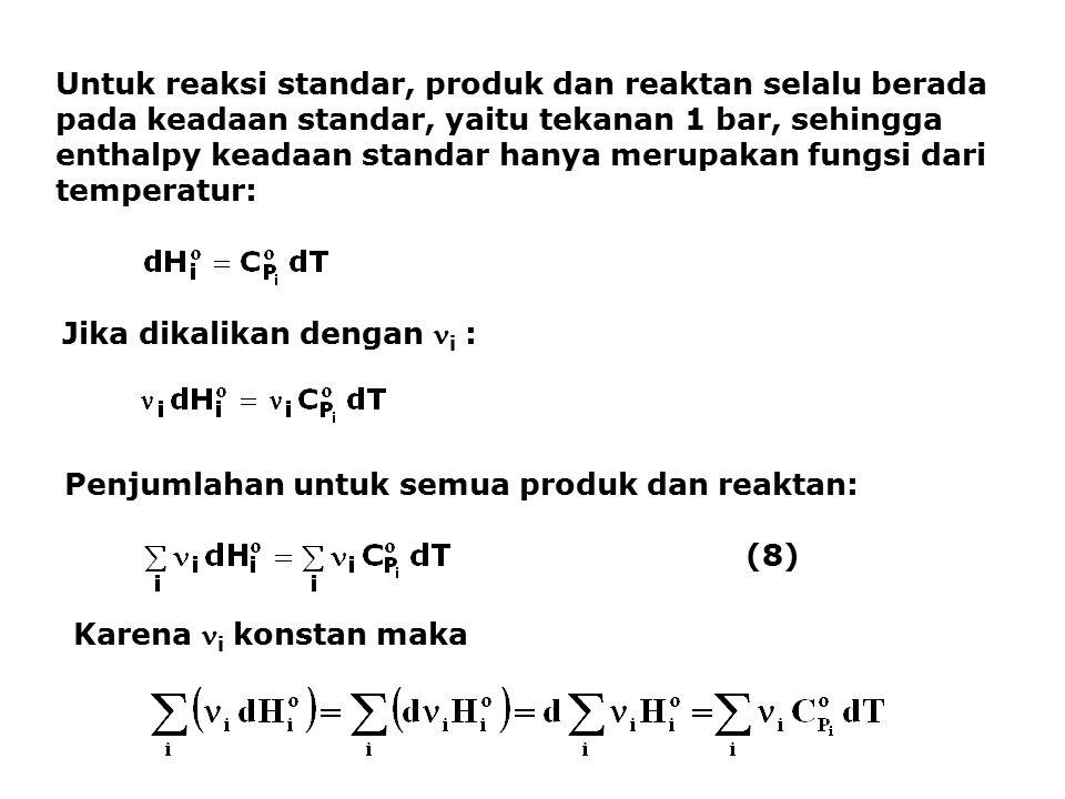 Untuk reaksi standar, produk dan reaktan selalu berada pada keadaan standar, yaitu tekanan 1 bar, sehingga enthalpy keadaan standar hanya merupakan fungsi dari temperatur: