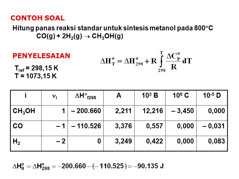 CONTOH SOAL Hitung panas reaksi standar untuk sintesis metanol pada 800C. CO(g) + 2H2(g)  CH3OH(g)