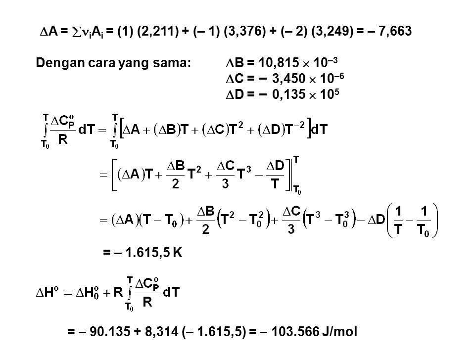 A = iAi = (1) (2,211) + (– 1) (3,376) + (– 2) (3,249) = – 7,663