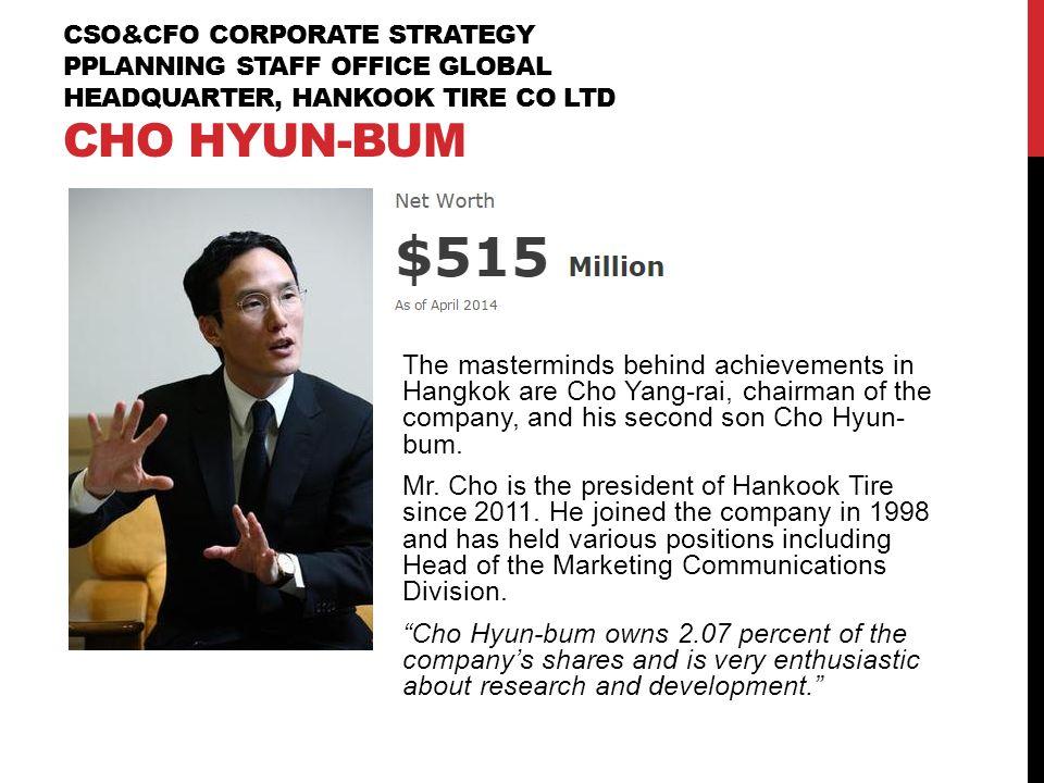 CSO&CFO Corporate Strategy PPlanning Staff Office Global Headquarter, Hankook Tire Co Ltd Cho Hyun-Bum