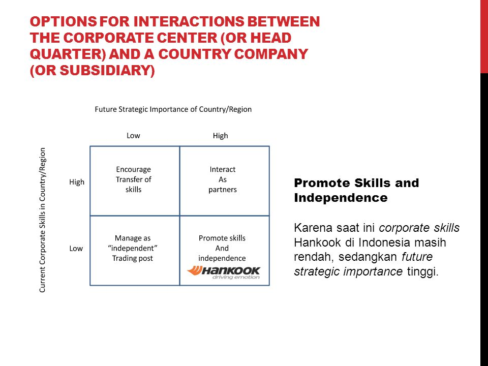 Options for Interactions Between the Corporate Center (or Head Quarter) and a Country Company (or Subsidiary)