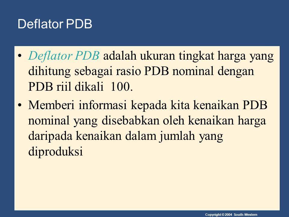 Deflator PDB Deflator PDB adalah ukuran tingkat harga yang dihitung sebagai rasio PDB nominal dengan PDB riil dikali 100.