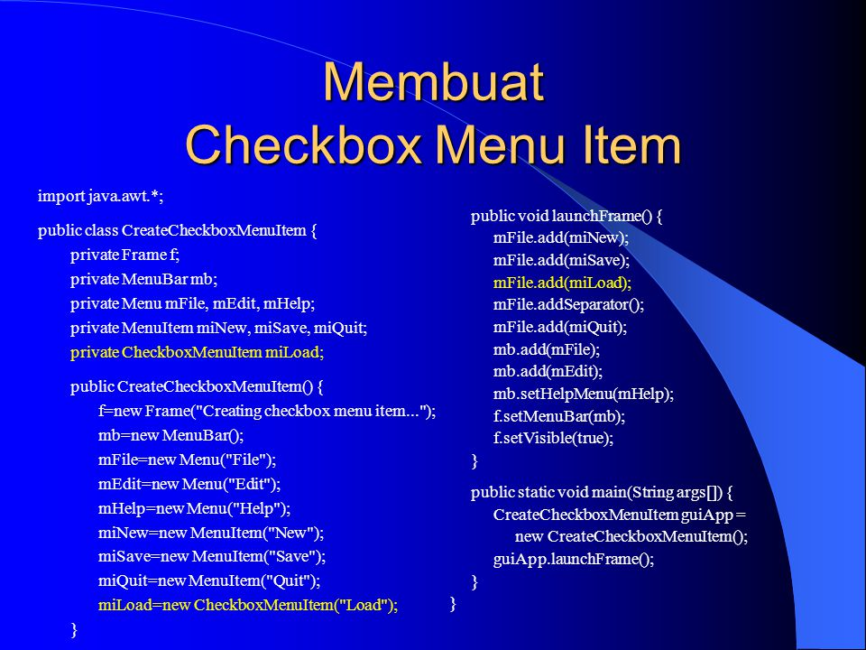 Membuat Checkbox Menu Item