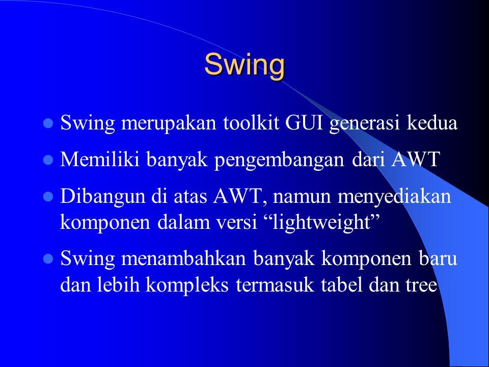 Swing Swing merupakan toolkit GUI generasi kedua