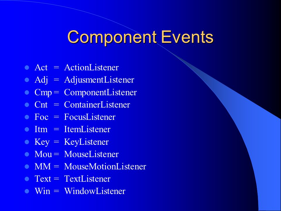 Component Events Act = ActionListener Adj = AdjusmentListener