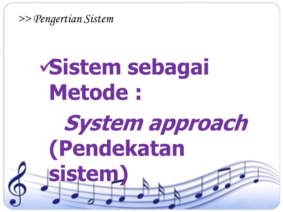 Sistem sebagai Metode : System approach (Pendekatan sistem)