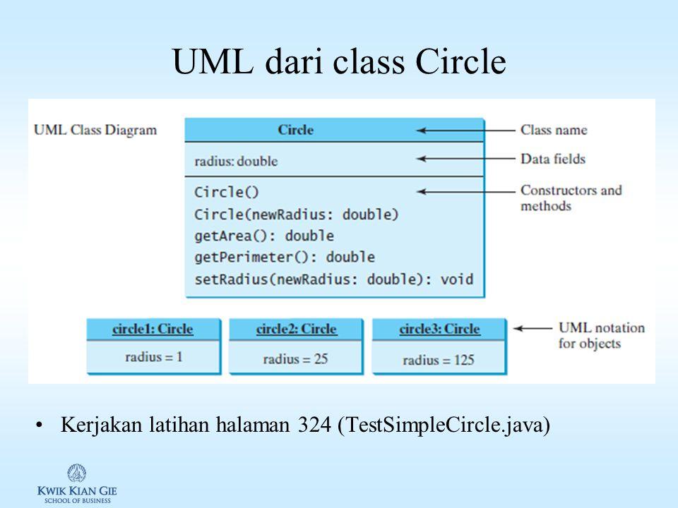 UML dari class Circle Kerjakan latihan halaman 324 (TestSimpleCircle.java)