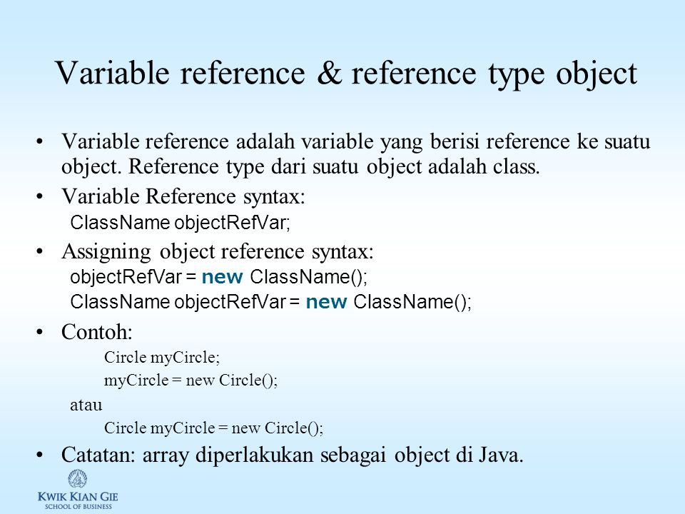 Variable reference & reference type object