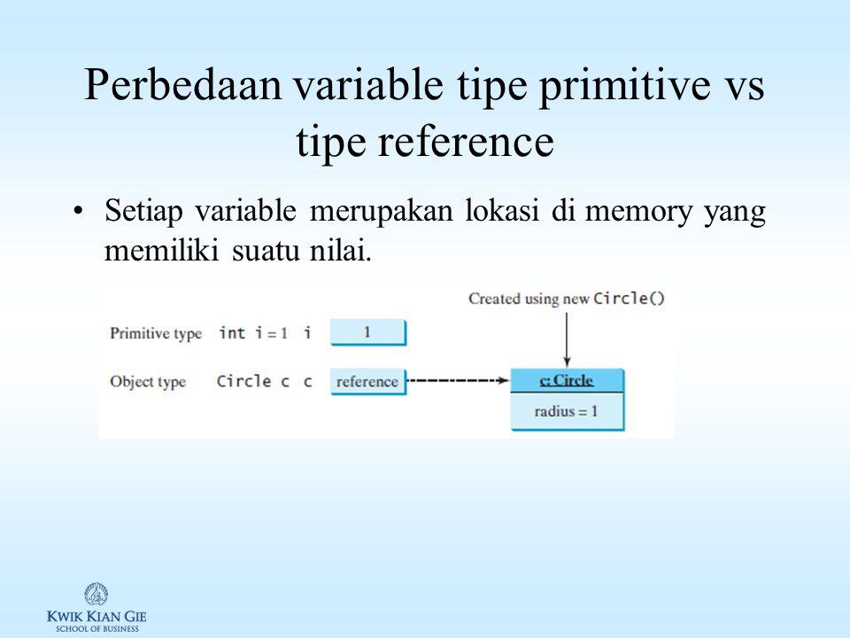 Perbedaan variable tipe primitive vs tipe reference