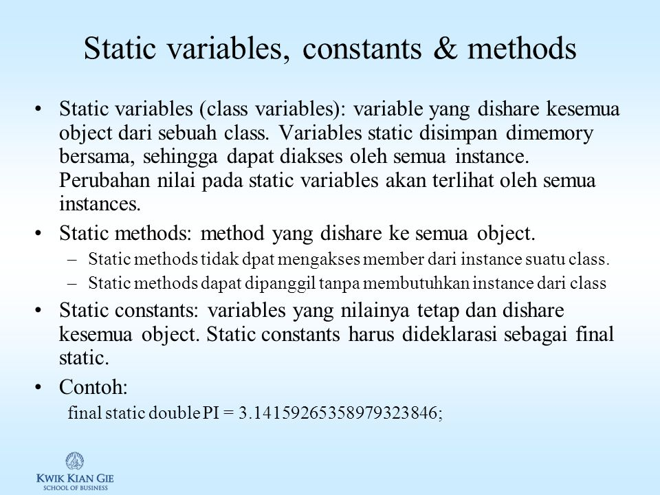Static variables, constants & methods