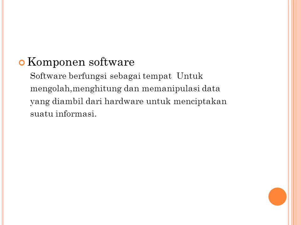 Komponen software Software berfungsi sebagai tempat Untuk