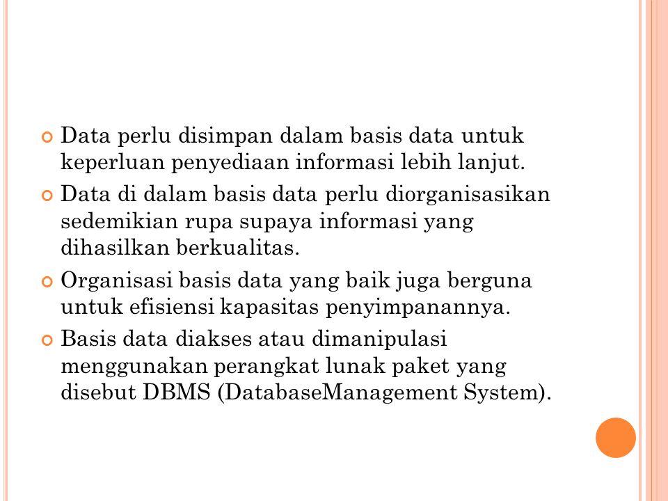 Data perlu disimpan dalam basis data untuk keperluan penyediaan informasi lebih lanjut.