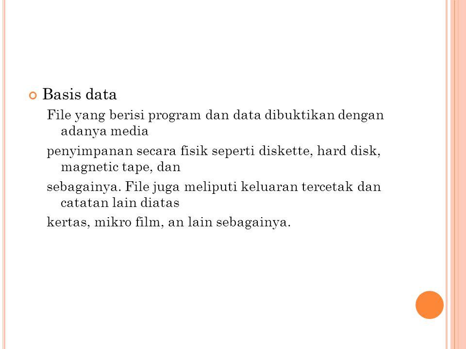 Basis data File yang berisi program dan data dibuktikan dengan adanya media.